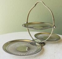 Vintage Silver Plated 3-Tiered Fold Up Serving Tray Queen Anne Made In England