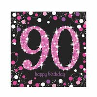 16pk Pink Sparkling Celebration 90th Birthday Luncheon Napkins 33cm