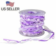 33 Feet 3 Strings Beaded Ribbon Pearl String Satin and Organza Ribbon DIY Decor