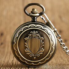 Retro Bronze Shield Skeleton Hand-winding Mechanical Men Pocket Watch Chain Gift