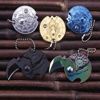 EDC Mini Ausschnitt Kralle Münze Messer Schlüsselring Halskette Karambit Saber