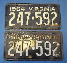1964 Virginia License Plates Matched Pair