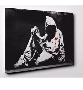 Banksy hoodie youth knife CANVAS WALL ART DECO LARGE READY TO HANG NIGHT all siz
