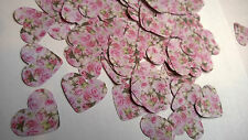 Vintage Pink Rose Wedding Table Confetti 150 Hearts Vintage Shabby Chic 16mm