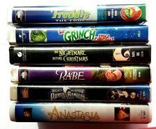 6 VHS Tape animated movies Freddie Babe PowerRangers Anastasia Nightmare Grinch