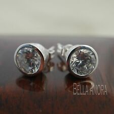 925 stamped sterling silver plated ROUND CRYSTAL ORECCHINI A PERNO DIAMETRO 7mm-UK 11