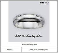 Solid 925 Sterling Silver Plain Band Ring Width 6mm Wedding Band Ring Comfort