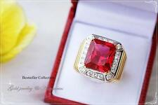 Gold Baht Gold Plated Cz Ruby Red Man Thai Gold Plated Ring Red Men Jewelry Thai