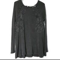 Soft Surroundings Womens Size Medium Camden Top Blouse Waffle Knit Gray