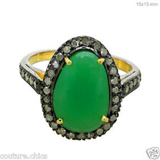 Ring 14k Yellow Gold 925 Silver 1.6ct Chrysoprase Gemstone Diamond Pave Cocktail
