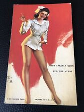 Mutoscope Pin-up Arcade card Vintage 1940s He's Taken Turn for the Nurse Mozert