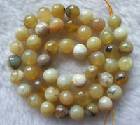 4mm 6mm 8mm 10mm Natural Yellow Opal Round Loose Beads 15.5""