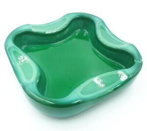 Vintage Czech BOHEMIAN MALACHITE GREEN GLASS Ashtray 1960s