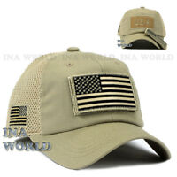 USA American Flag hat Detachable Patch Tactical Military Mesh Baseball cap-Khaki