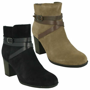 ENFIELD COCO LADIES CLARKS BUCKLE DETAIL ZIP HEELED CASUAL SUEDE ANKLE BOOTS
