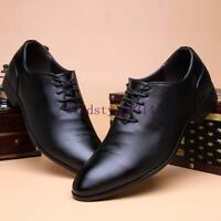 Men's Fashion Pointed Toe Lace Up PU Leather Wing Tip Formal Dress Wedding Shoes