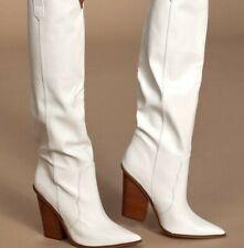 NEW Steve Madden Ranger Western Block Heel knee-high White Pointed toe Boots 5.5
