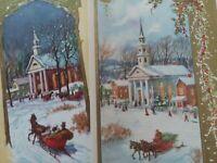 2 UNUSED Vtg HORSE Sleigh CHURCH Gold Trim Thomson CHRISTMAS GREETING CARDS