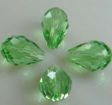 "Wholesale 8x12mm green Crystal Teardrop Gems Loose Beads 15"""