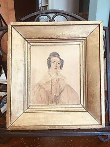 Antique English 19thC Folk Art Portrait Miniature Painting of Lady Dated 1835/36