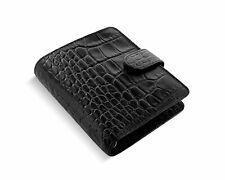 Filofax Pocket Organizer Leder A7 Terminplaner Classic Croc Ebony Schwarz 026074