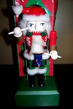 "Holiday Time Musical Animated 10"" Wooden Nutcracker plays WHITE CHRISTMAS w/ Box"