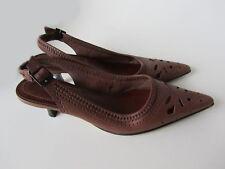 Nine West Women's Brown Leather Pointed Toe Sling Back Summer Heel sandals s 6M