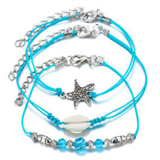 Women Fashion Three-piece Sui 00004000 t Boho Beach Shell Summer Anklet Chain Bracelet Mp