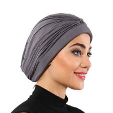 NEW Bonnet Cancer Chemo Hijab Turban Cap Beanie Hat Scarf Gray Color Beads
