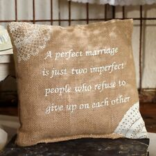 """A Perfect Marriage is......."" Stenciled Burlap Pillow 8x8"" with insert"