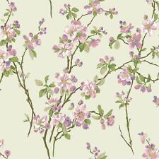 Wallpaper Cherry Blossoms Floral Lavender Pink Brown Green on Pearlized Cream