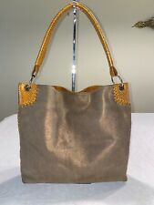 Amankai Designer Shimmery Bronze Suede Hobo Bag  Yellow Snakeskin Embsd Leather