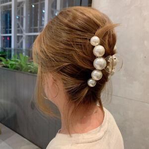 Damen Groß Perlen Haar Klauen Elegant Acryl Haarspange Hyperbole Haarklammer Neu