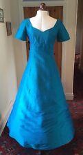 VINTAGE 1980's/90's REGENCY STYLE IRIDESCENT BLUE GREEN SILK BRIDESMAID DRESS
