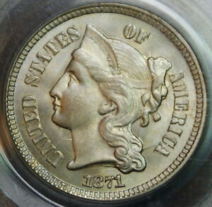 1871 Three Cent Nickel, PCGS MS-64, Gem Coin