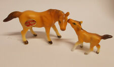 Vintage Miniature Horse & Colt Figurines  Japan Bone China Light Brown