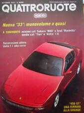 Quattroruote 444 1992 - Ferarri 456 GT - Subaru M80 Seat Marbella Fiat     [Q31]