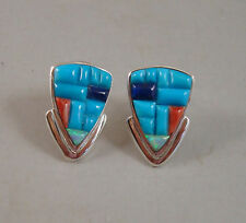 *HOT* MULTI STONE & OPAL INLAY STERLING SILVER EARRINGS