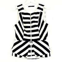 Portmans Women's Sz 10 Black White Stripe Sleeveless Zip Front Peplum Blouse Top
