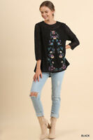 Umgee Black Floral Embroidered Lace 3/4 Sleeve Top Size Small