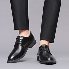 Men's Lace Up Oxfords Low Heel Pointed Toe Business Formal Dress Shoes Plus Size