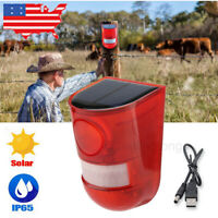 Outdoor Solar Powered LED Alarm Warning Security Flashing Light Waterproof Lamp