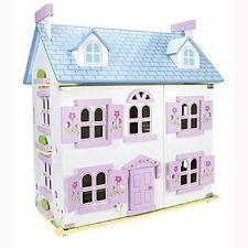 LEOMARK WHITE WOODEN DOLL HOUSE WITH FURNITURE + DOLLS KIDS