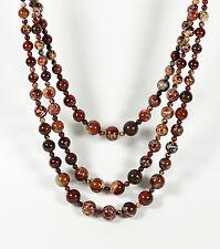 Three Row Multi Strand Red Brown Jasper Gemstone Smooth Round Bead Bib Necklace