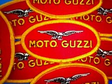 MOTO GUZZI OVAL SEW OR IRON ON  PATCH 4.6CM BY 8.5 CM