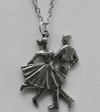 Chain Necklace #123 Pewter DANCING COUPLE 50's ROCK N ROLL Jive Dancers 25x19mm