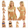 US! Women's Sexy Bikini Set Bathing Suit Self-tie Mini Thong Swimwear Swimsuit