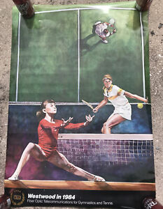 Vtg 24x35 Olympics Westwood In 1984 Gymnastics And Tennis- GTE Ad Poster