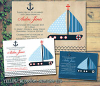 10 Nautical Navy Blue Christening Naming Day Baptism Invitations Boy Joint First
