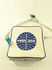 Vintage Pan Am Airlines White Vinyl Travel Flight Bag